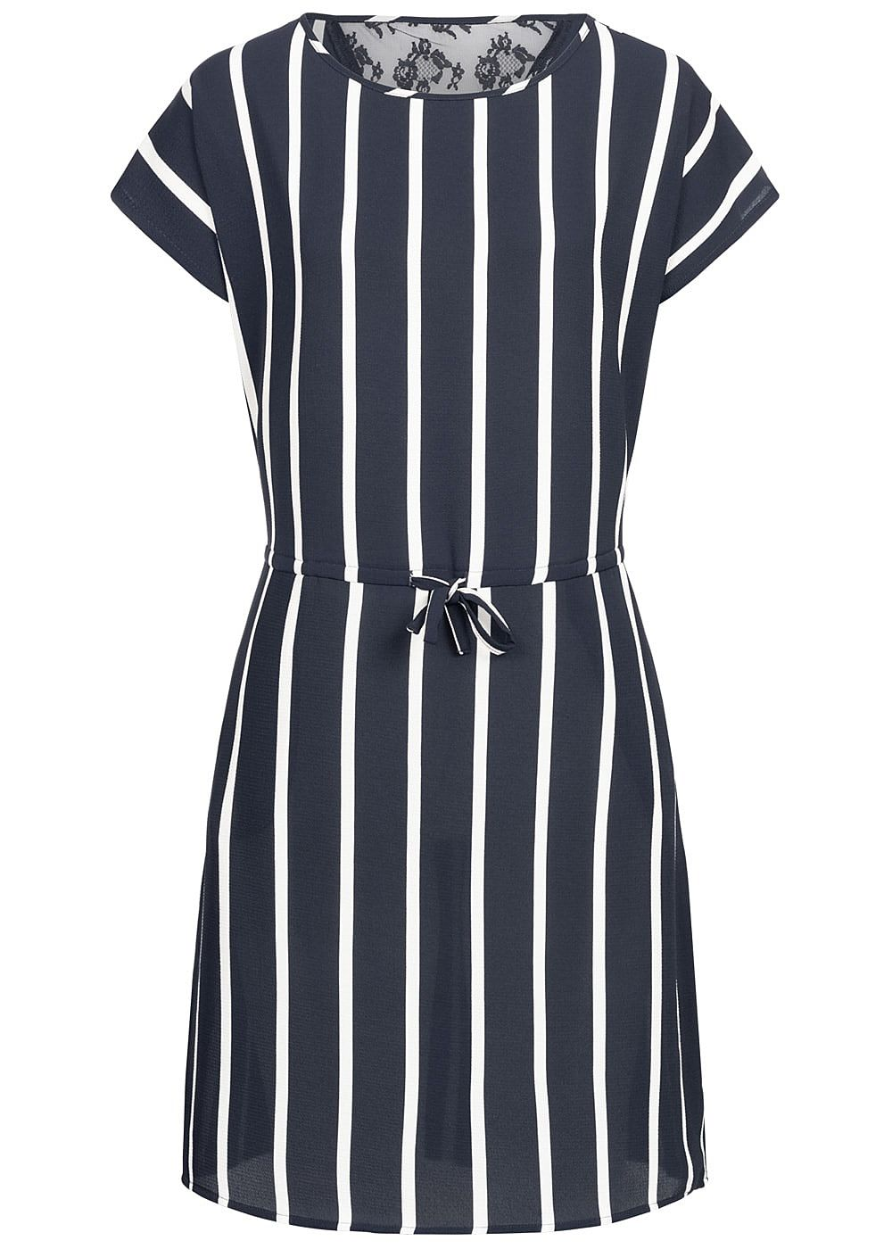 ONLY Damen Striped Dress Lace Detail night sky blau weiss - Art.-Nr.: 19030881-S36-NY
