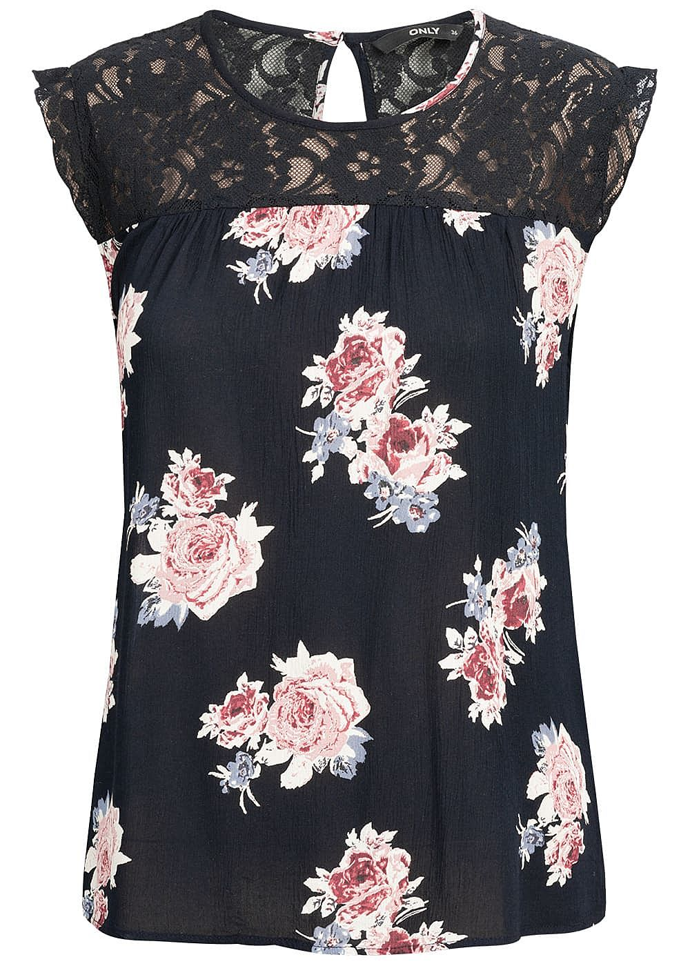 ONLY Damen Lace Top Flower Print NOOS night sky blau rosa - Art.-Nr.: 19030924-X34-NY