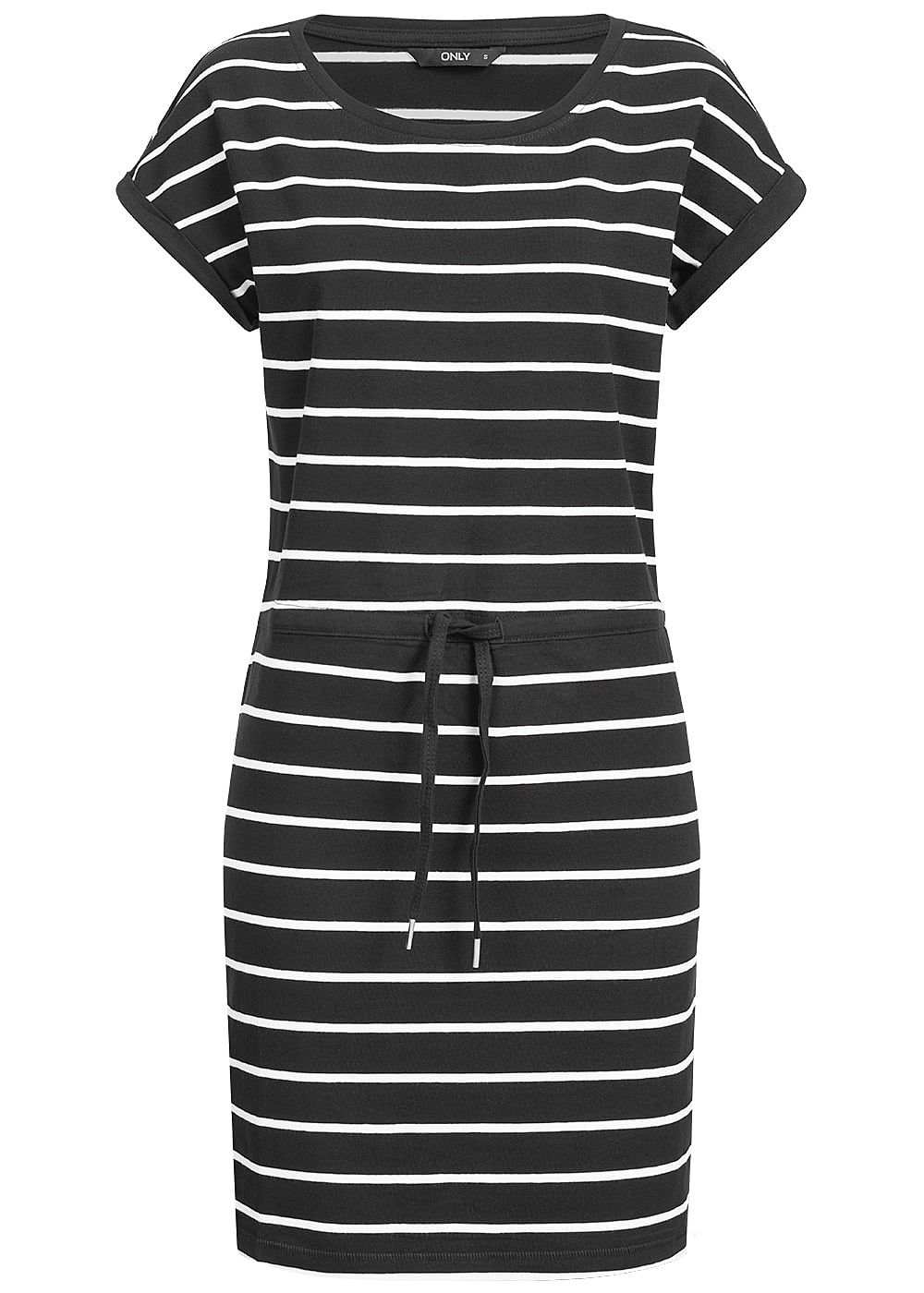 ONLY Damen Striped T-Shirt Dress NOOS schwarz weiss - Art.-Nr.: 19031038-XS-BK