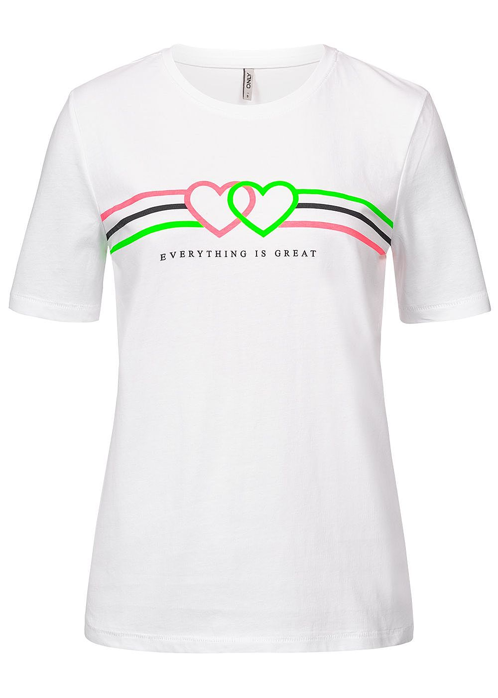 only damen t shirt neon great heart print bright weiss. Black Bedroom Furniture Sets. Home Design Ideas