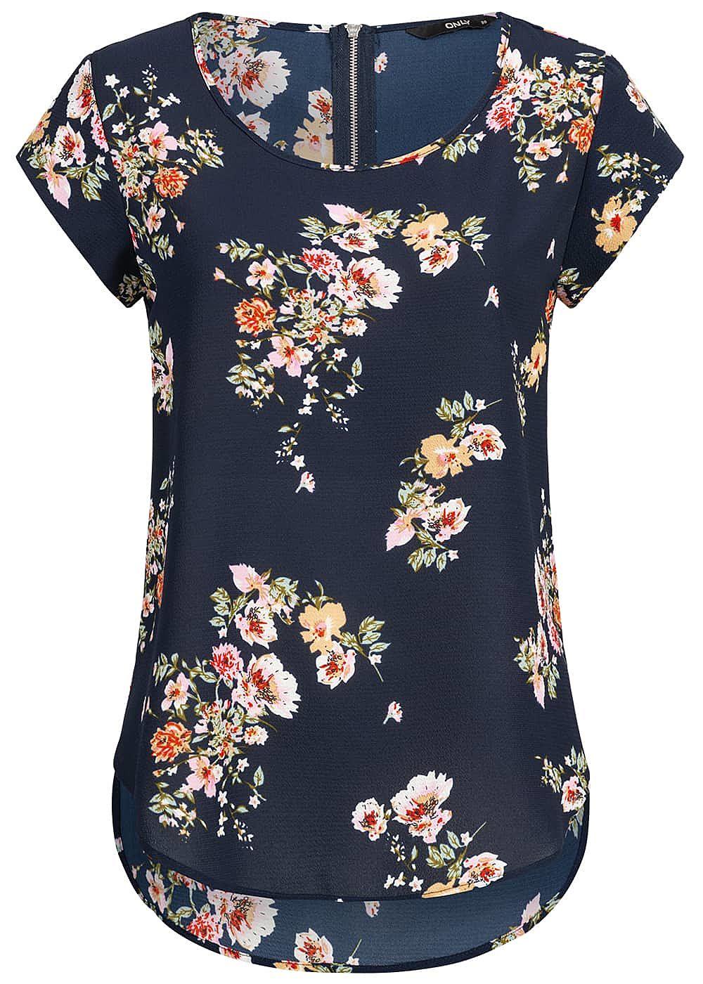 950b8513dd6183 ONLY Damen Blouse Shirt Zipper Flower Print NOOS night sky navy blau ...