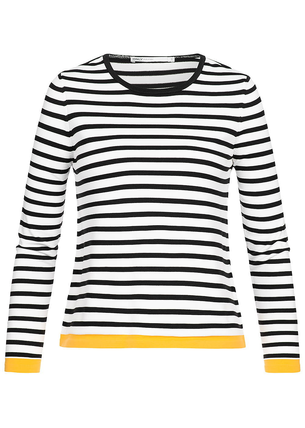 ONLY Damen Striped Pullover NOOS cloud dancer weiss schwarz - Art.-Nr.: 19031177