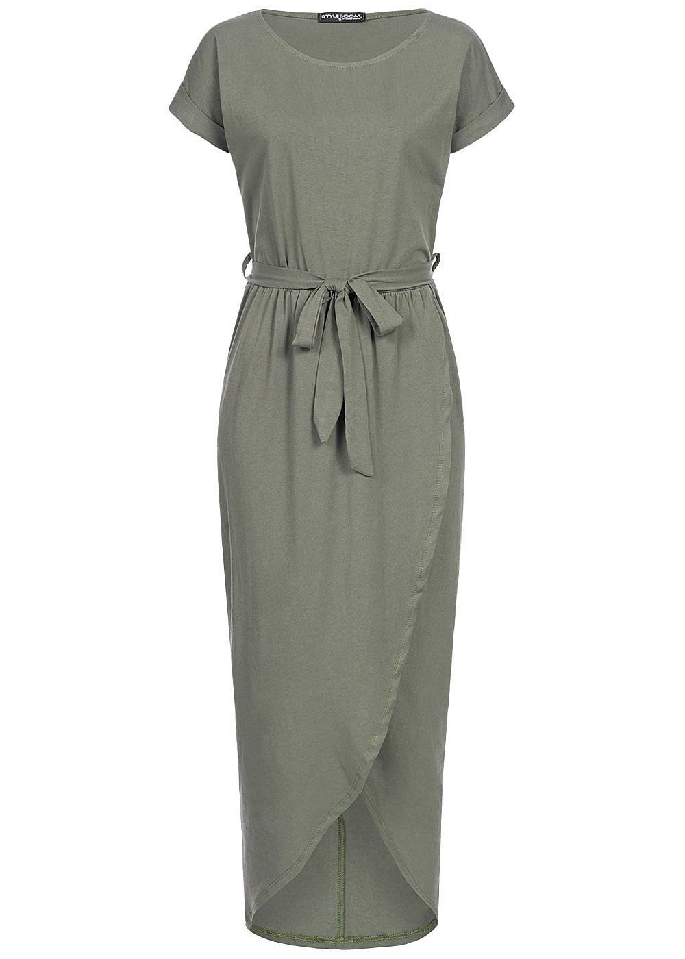 Styleboom Fashion Damen Long Wrap Belt Dress military grün - Art.-Nr.: 19036240