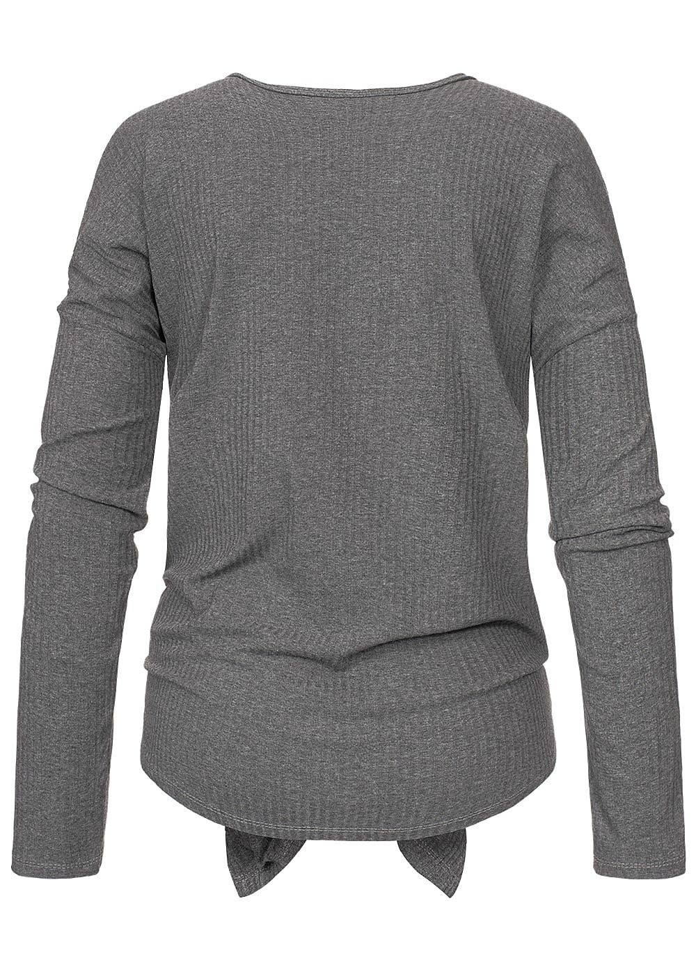 82815fed6eb0bc Styleboom Fashion Damen Ripped Tie-Knot Buttons Shirt dunkel grau ...