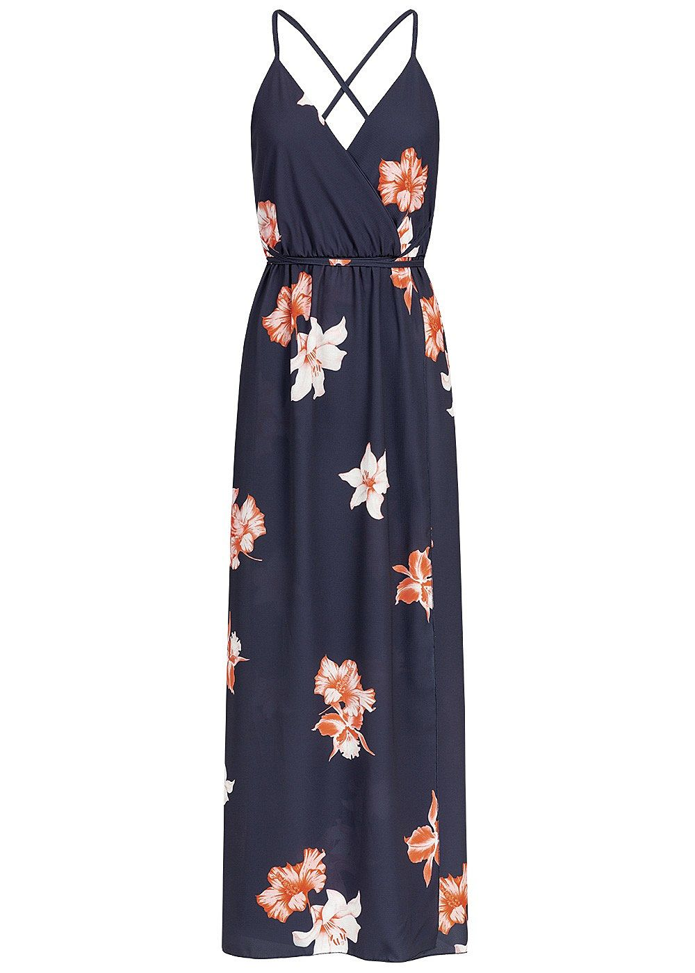 Styleboom Fashion Damen Wrapped Maxi Dress Cross Back Side Flower Print navy blau - Art.-Nr.: 19036272