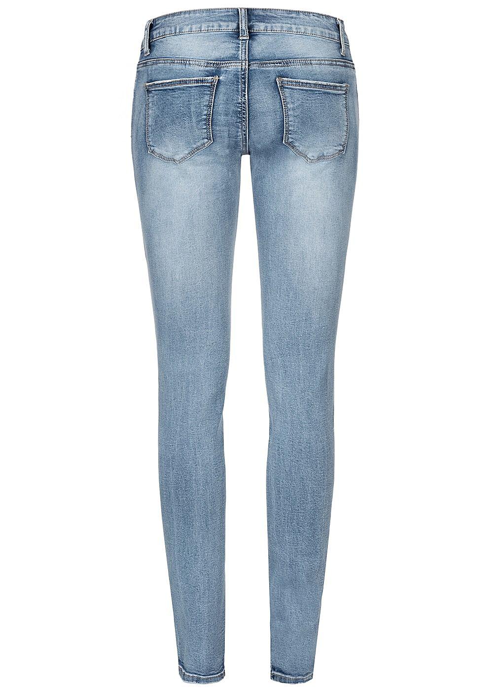 Seventyseven Lifestyle Damen Skinny Jeans 5 Pockets Heavy Destroy Look med blau denim