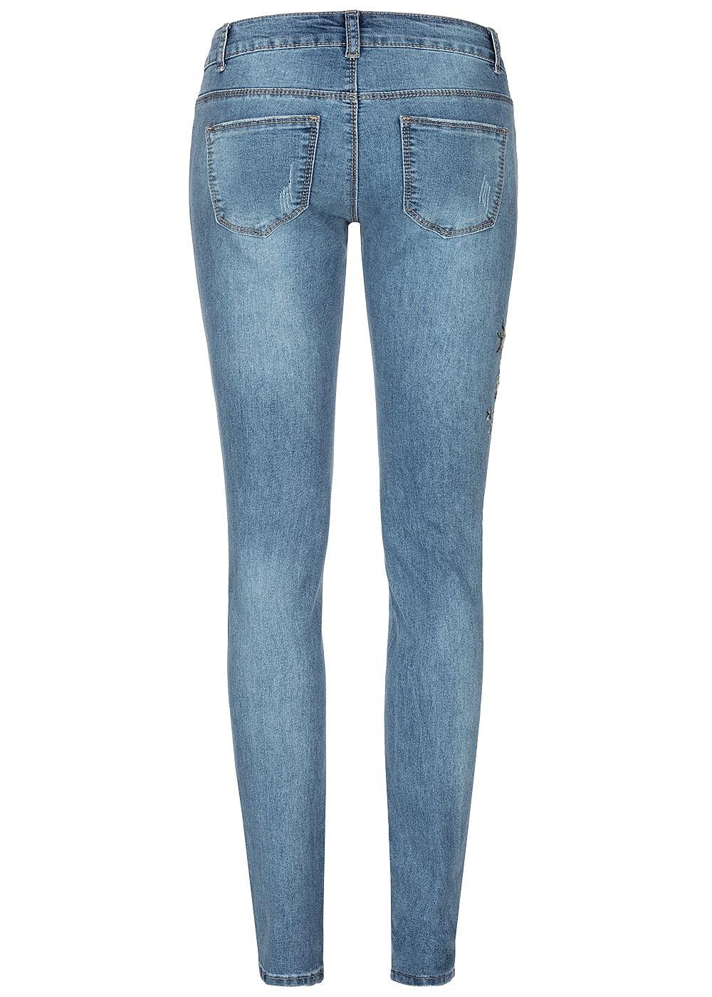 Seventyseven Lifestyle Damen Skinny Jeans 5 Pockets Floral Embroidered med blau denim