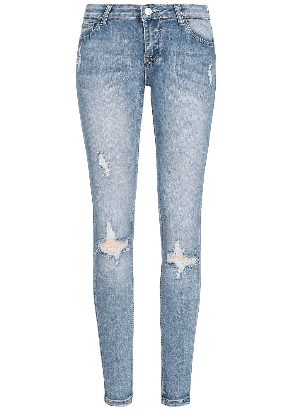 Seventyseven Lifestyle Damen Skinny Jeans Hose Destroy Look 5-Pockets medium blau denim - Art.-Nr.: 19039047-XS-DN