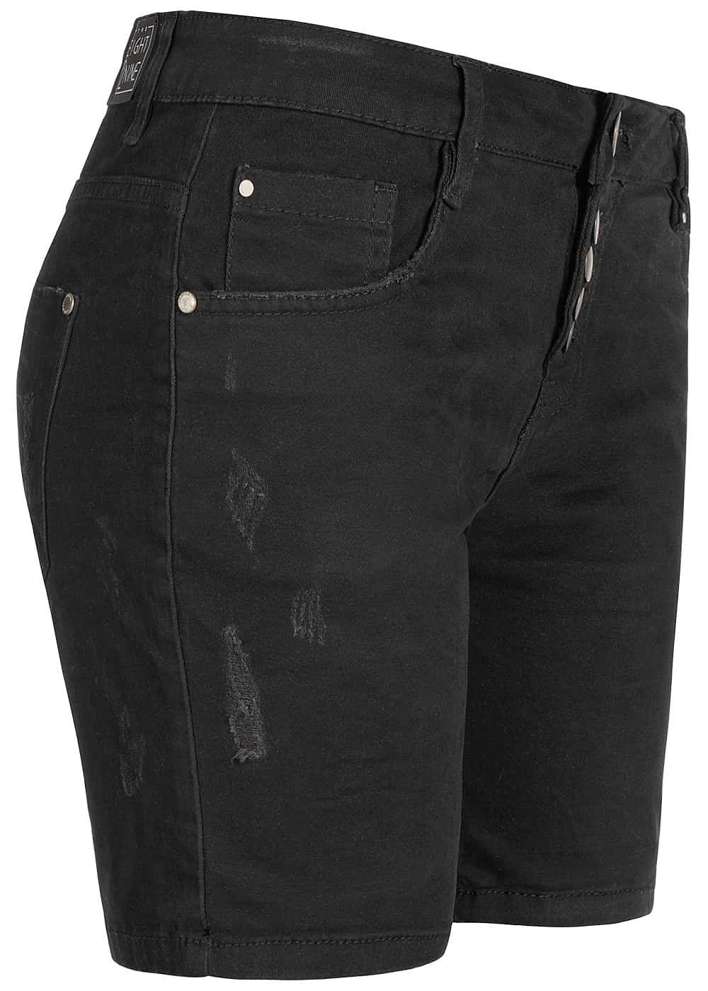 bc3de2af33e219 Eight2Nine Damen Bermuda Shorts 5-Pockets Destroy Look schwarz denim ...