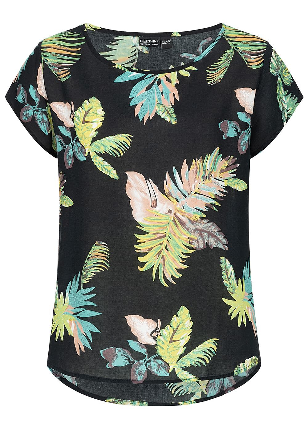 Eight2Nine Damen Blouse Shirt Floral Print schwarz grün - Art.-Nr.: 19041280