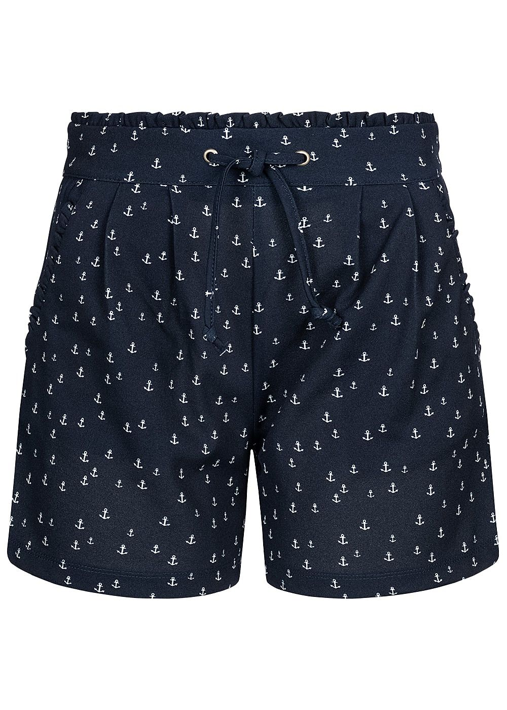 JDY by ONLY Damen Paper-Bag Shorts Anchor Print 2-Pockets sky captain blau weiss - Art.-Nr.: 19041357-XS-BL