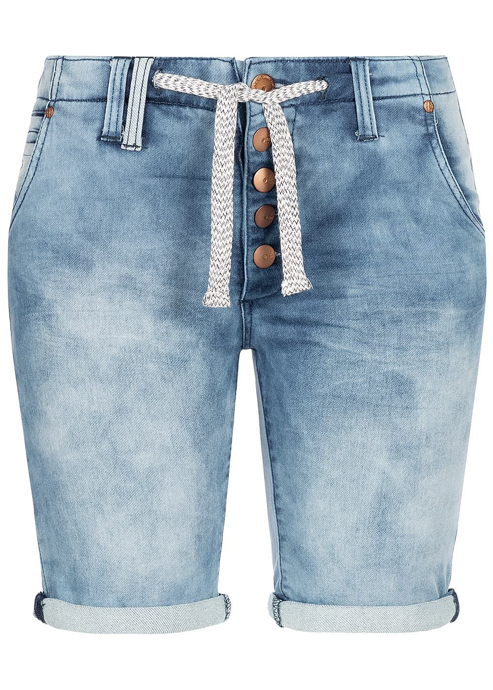 Eight2Nine Damen Denim Bermuda Shorts 5-Pockets Buttons Front hell blau denim - Art.-Nr.: 19041473