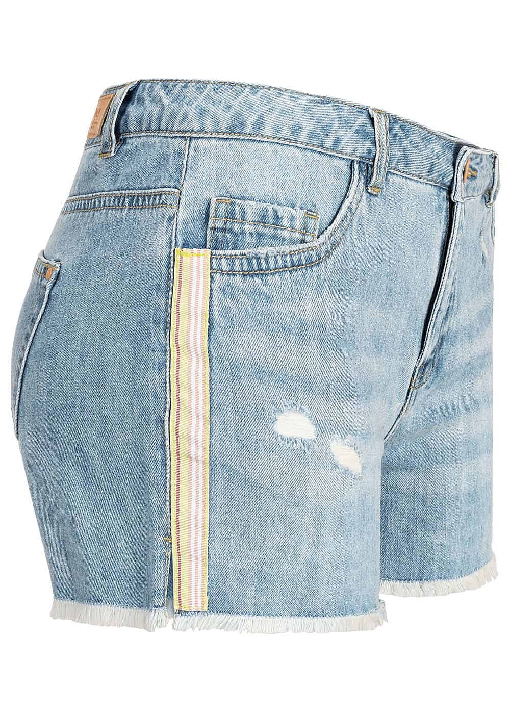 ONLY Damen Denim Shorts Frays Contrasting Stripes medium blau denim - Art.-Nr.: 19041568
