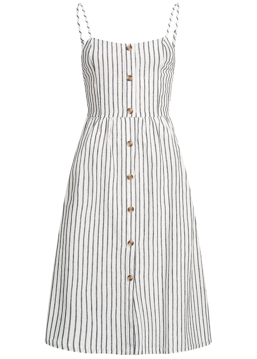 ONLY Damen Striped Denim Strap Dress Buttons Front weiss blau - Art.-Nr.: 19041578