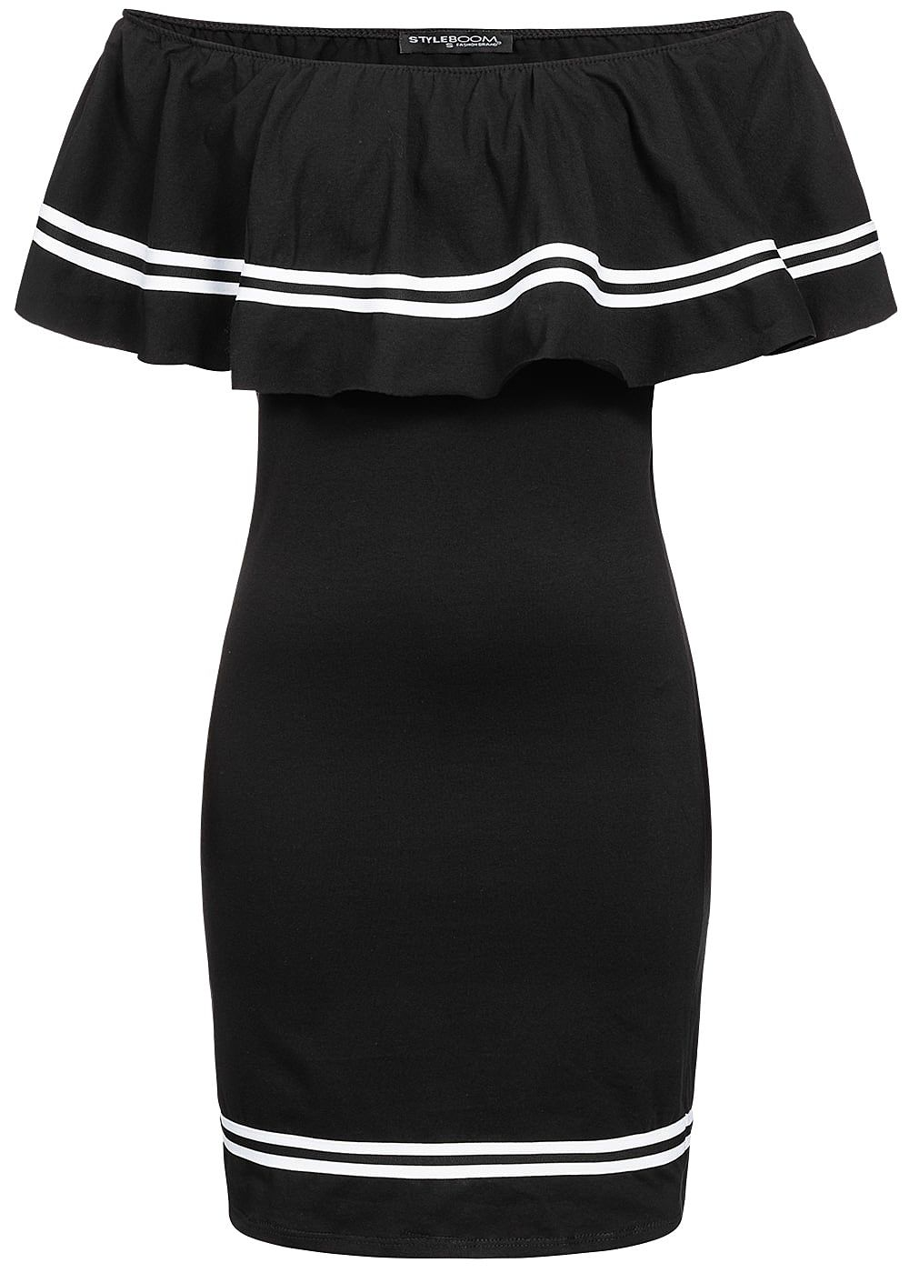 Styleboom Fashion Damen Off Shoulder Stripe Dress schwarz - Art.-Nr.: 19046302