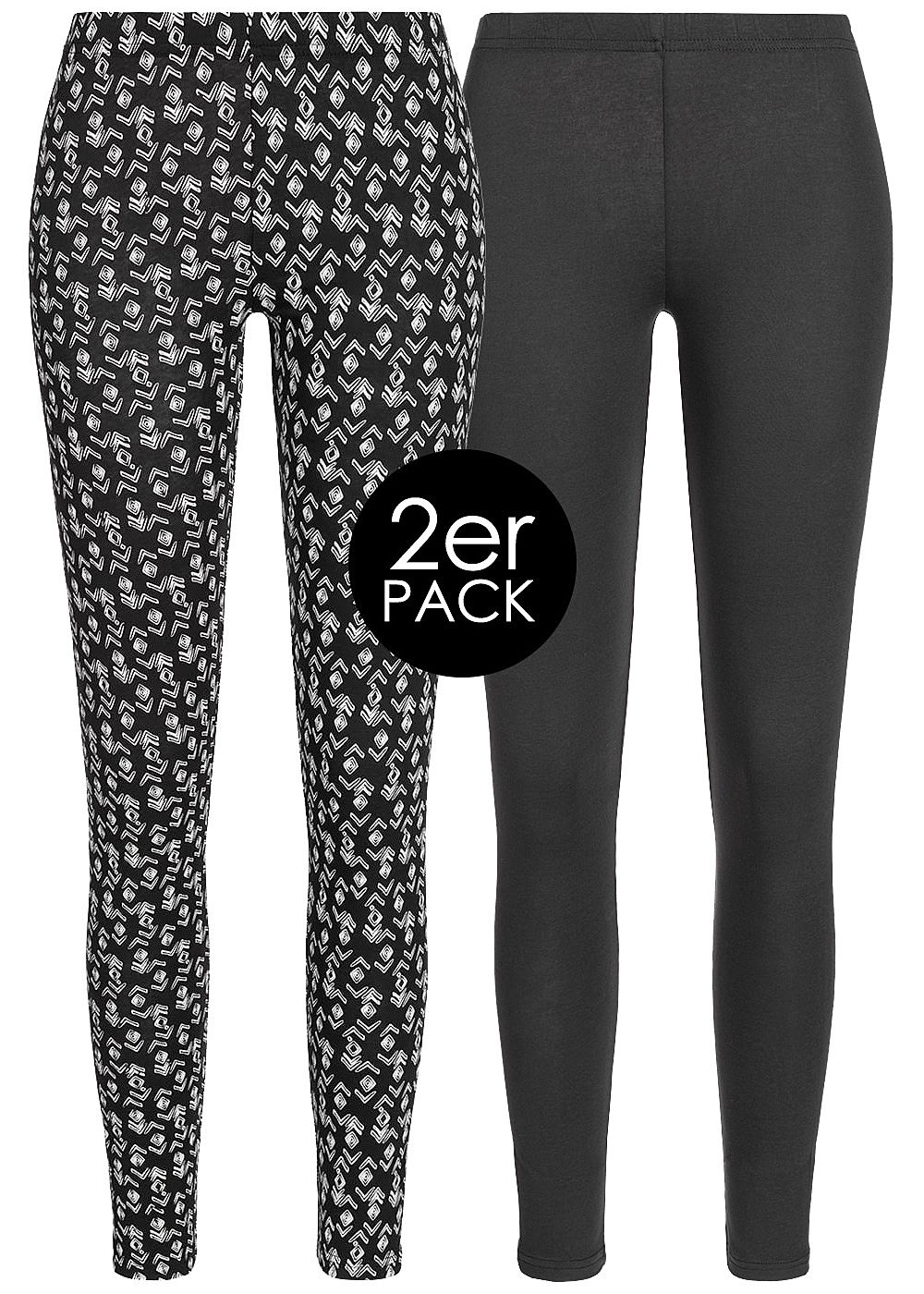 Seventyseven LifestyleDP Damen 2er-Set Leggings schwarz weiss - Art.-Nr.: 19048020