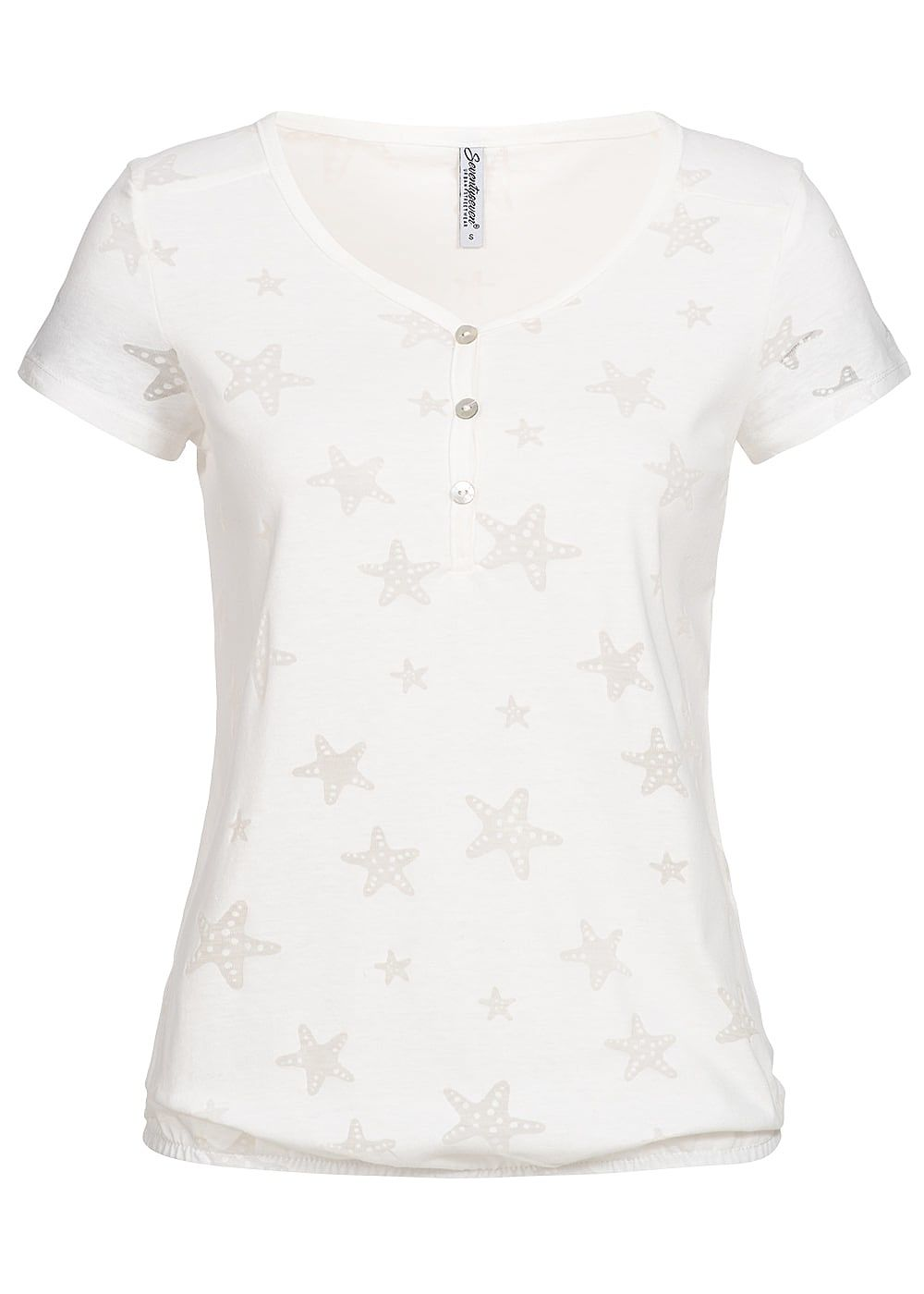 Seventyseven Lifestyle Damen T-Shirt Mesh Stars off weiss - Art.-Nr.: 19049034
