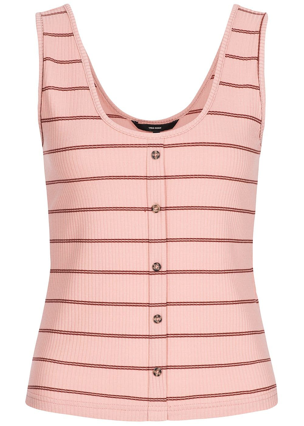 Vero Moda Damen Rib Striped Tank Top Buttons Front misty rosa - Art.-Nr.: 19051724