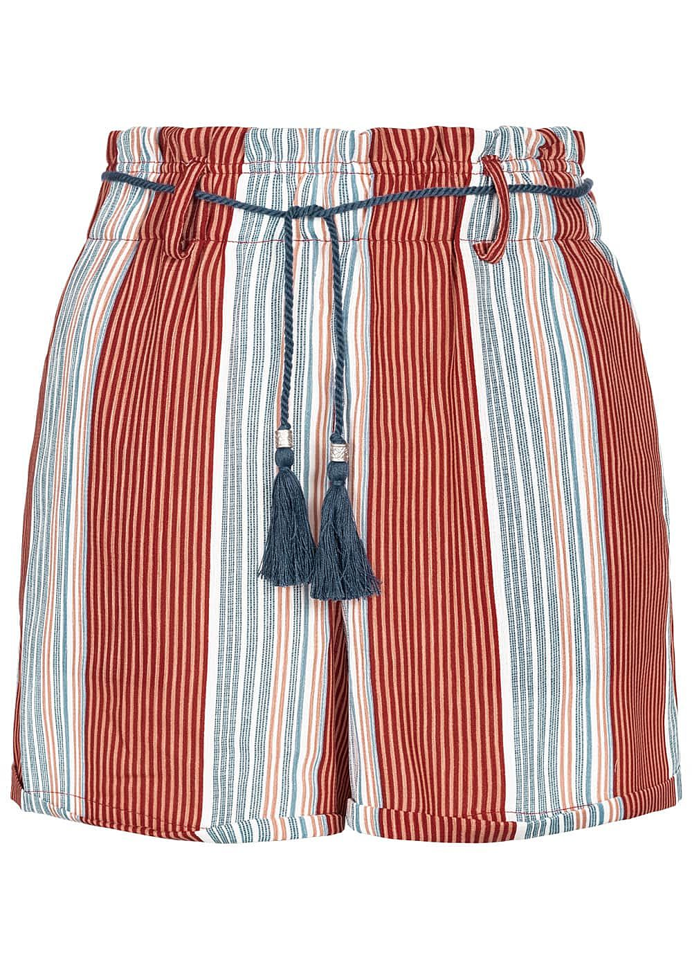 ONLY Damen Striped High-Waist Shorts Belt 2-Pockets calypso coral rot - Art.-Nr.: 19051751