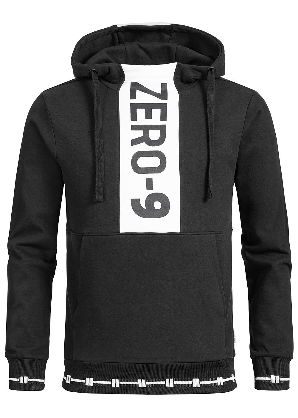 Jack and Jones Herren Sweat Hoodie Zer0-9 Print schwarz weiss - Art.-Nr.: 19051920