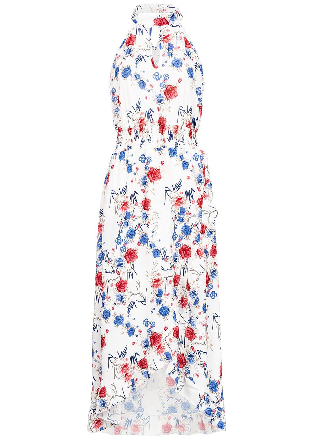 Styleboom Fashion Damen Choker Maxi Dress Flower Print weiss blau rot - Art.-Nr.: 19056375