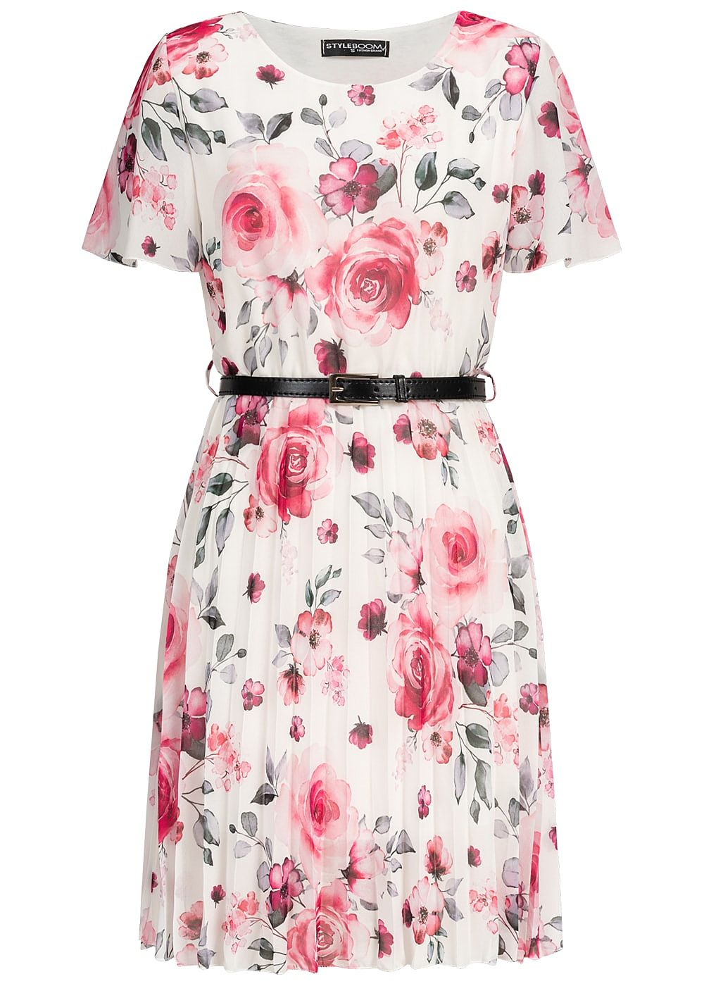 Styleboom Fashion Damen Pleated Chiffon Dress Flower Print Belt weiss rosa - Art.-Nr.: 19056416