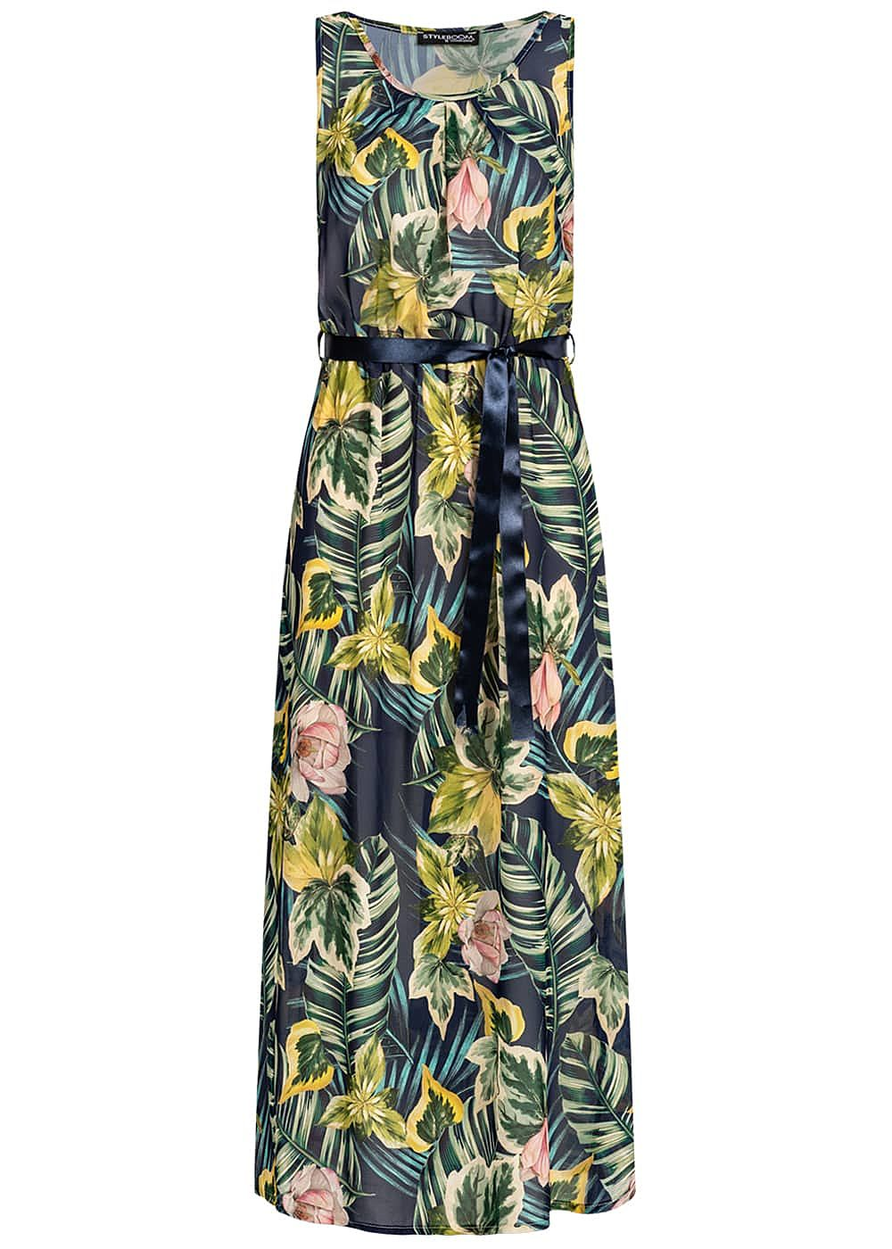 Styleboom Fashion Damen Maxi Dress Belt Tropical Print navy blau multicolor - Art.-Nr.: 19056443