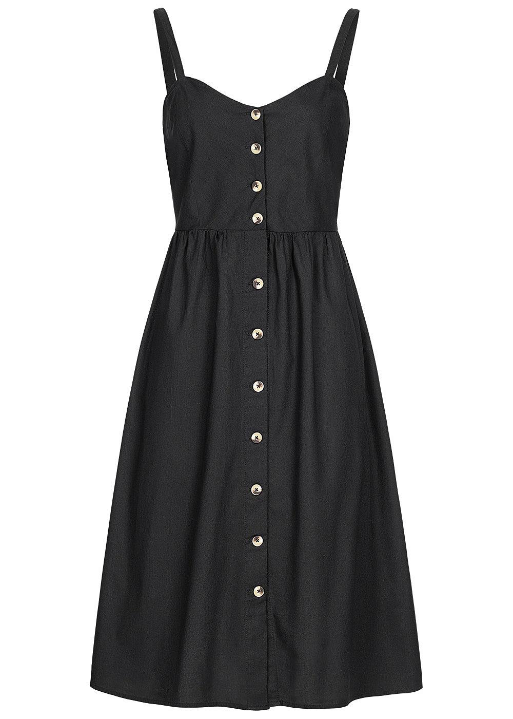 Seventyseven Lifestyle Damen Strap Dress Buttons Front schwarz - Art.-Nr.: 19059058