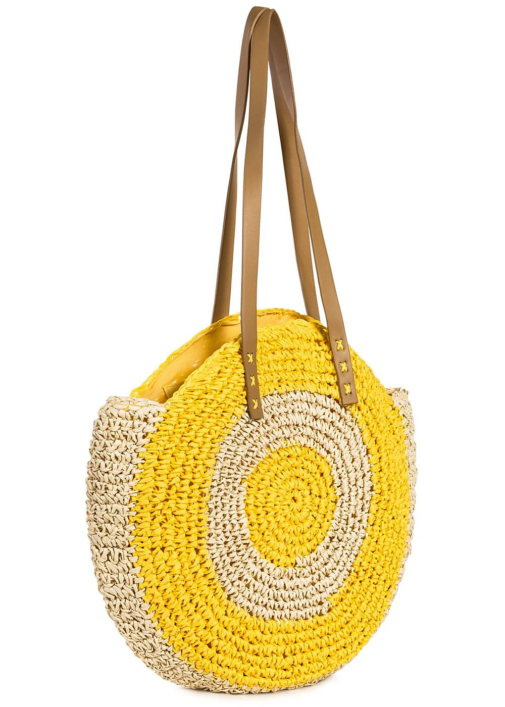 Styleboom Fashion Damen 2-Tone Basket Circle Shopper gelb beige - Art.-Nr.: 19062487-OS-YE