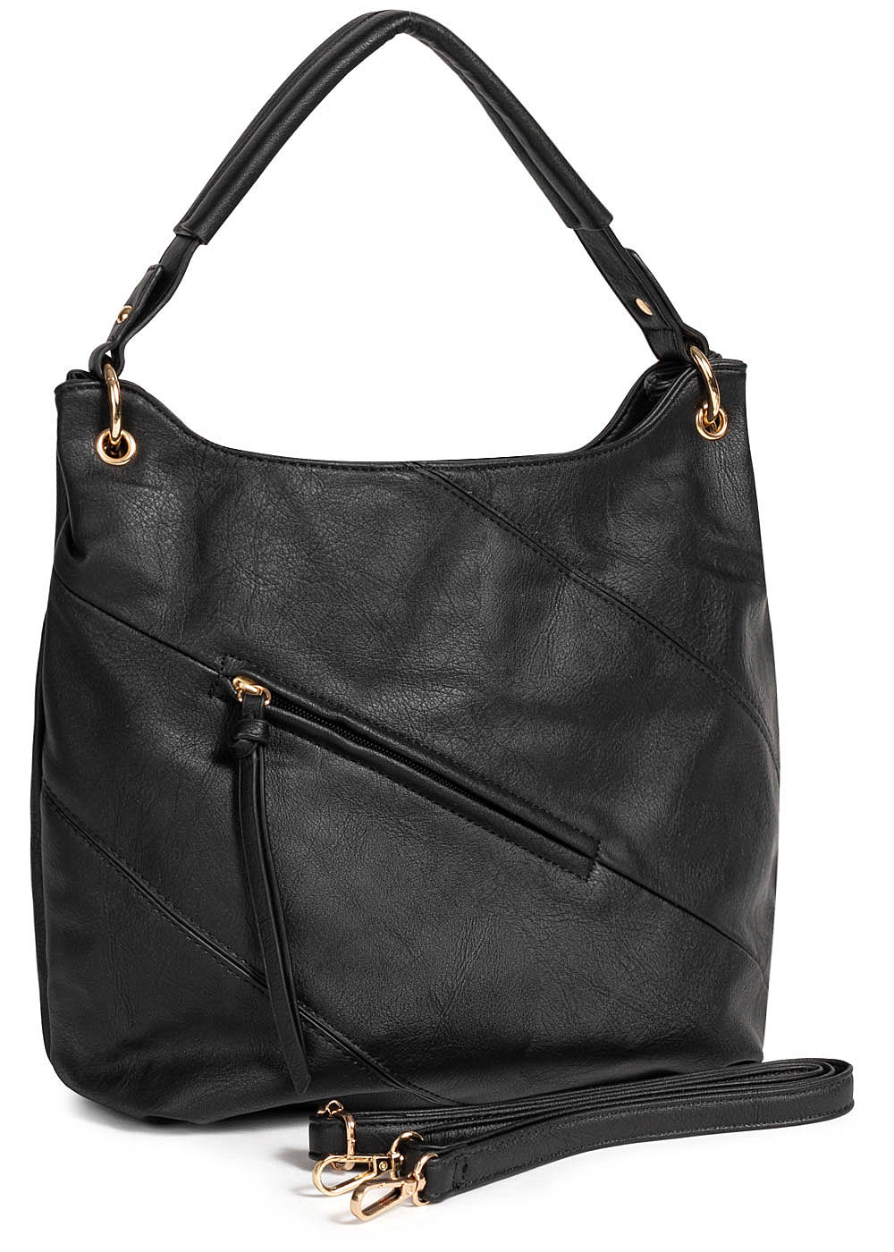 Styleboom Fashion Damen Tote Zip Bag schwarz - Art.-Nr.: 19062548-OS-BK