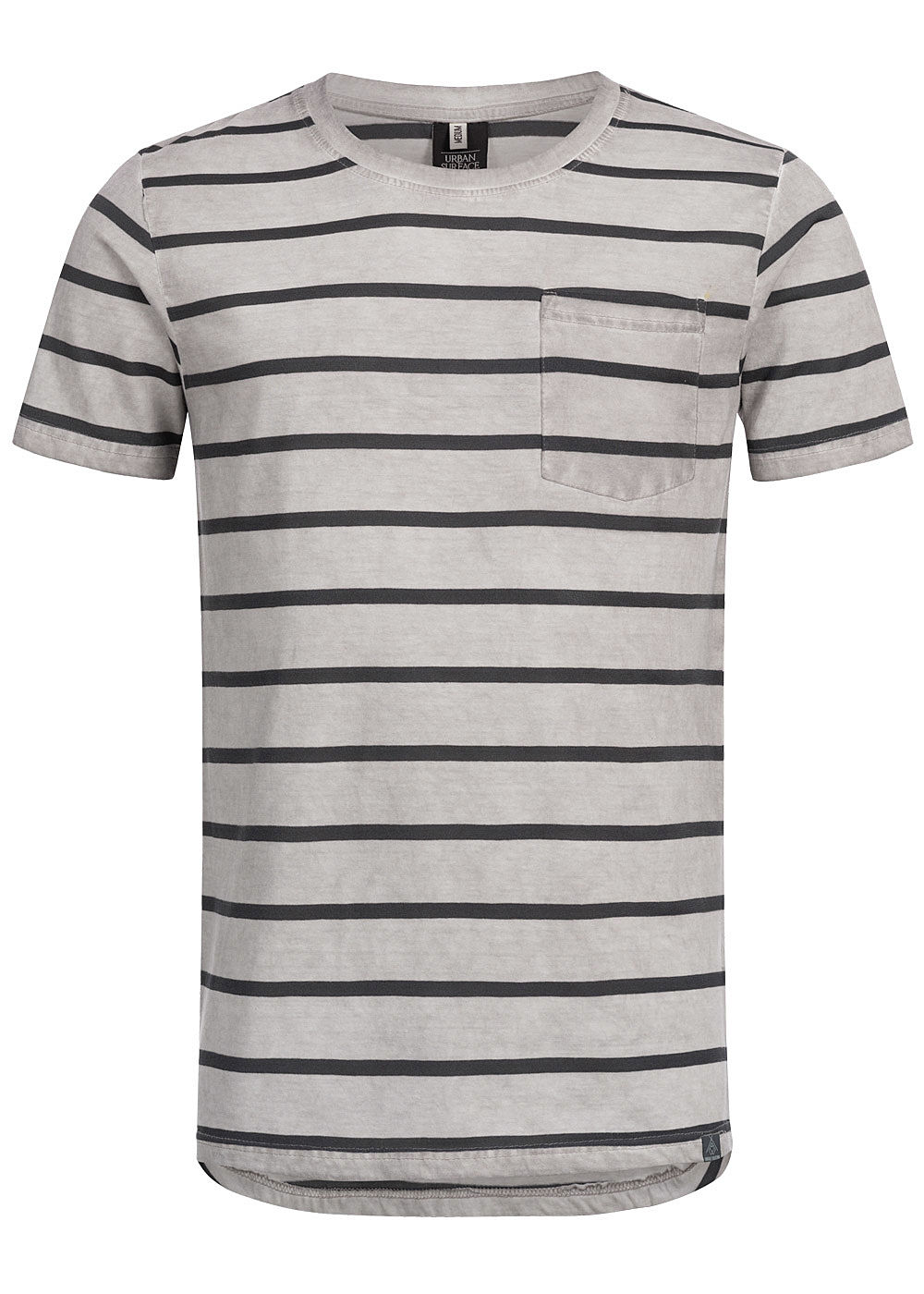 Eight2Nine Herren Striped Special Color Effect T-Shirt by Urban Surface hell grau - Art.-Nr.: 19072780