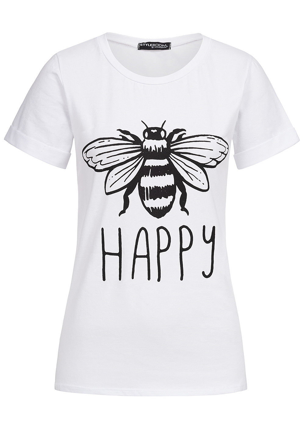 Styleboom Fashion Damen T-Shirt Bee Happy Print weiss - Art.-Nr.: 19076496