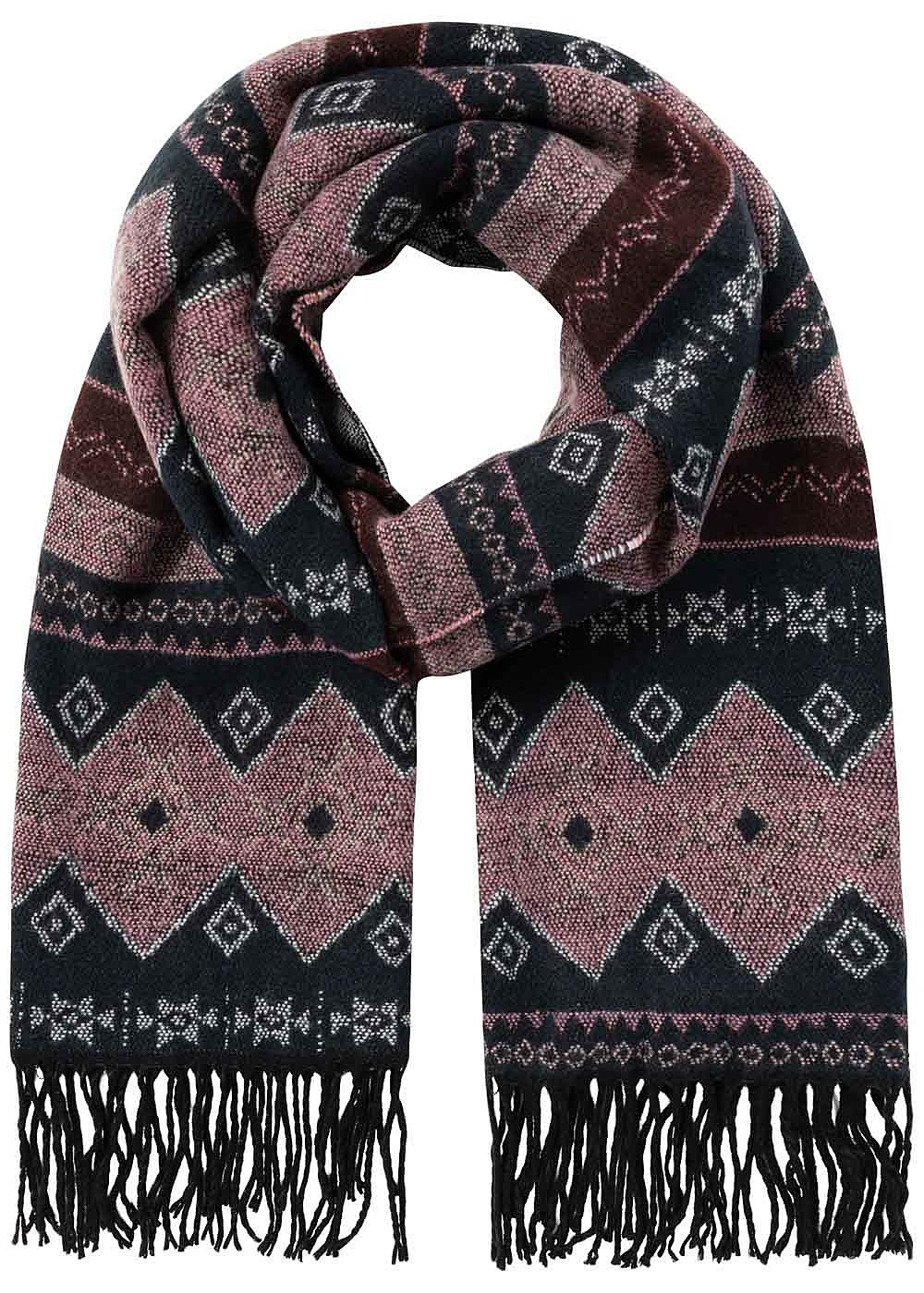 Vero Moda Damen Long Scarf Ethnic Print night sky navy blau rosa - Art.-Nr.: 19083179-OS-NY