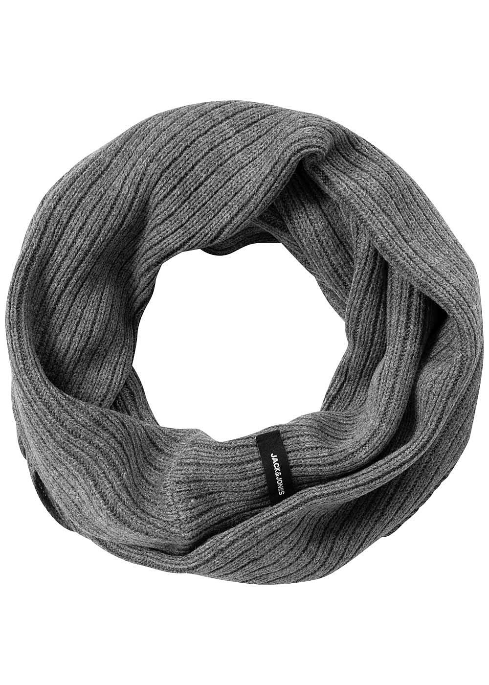 Jack and Jones Herren Knit Loop Scarf dunkel grau - Art.-Nr.: 19083208-OS-DG