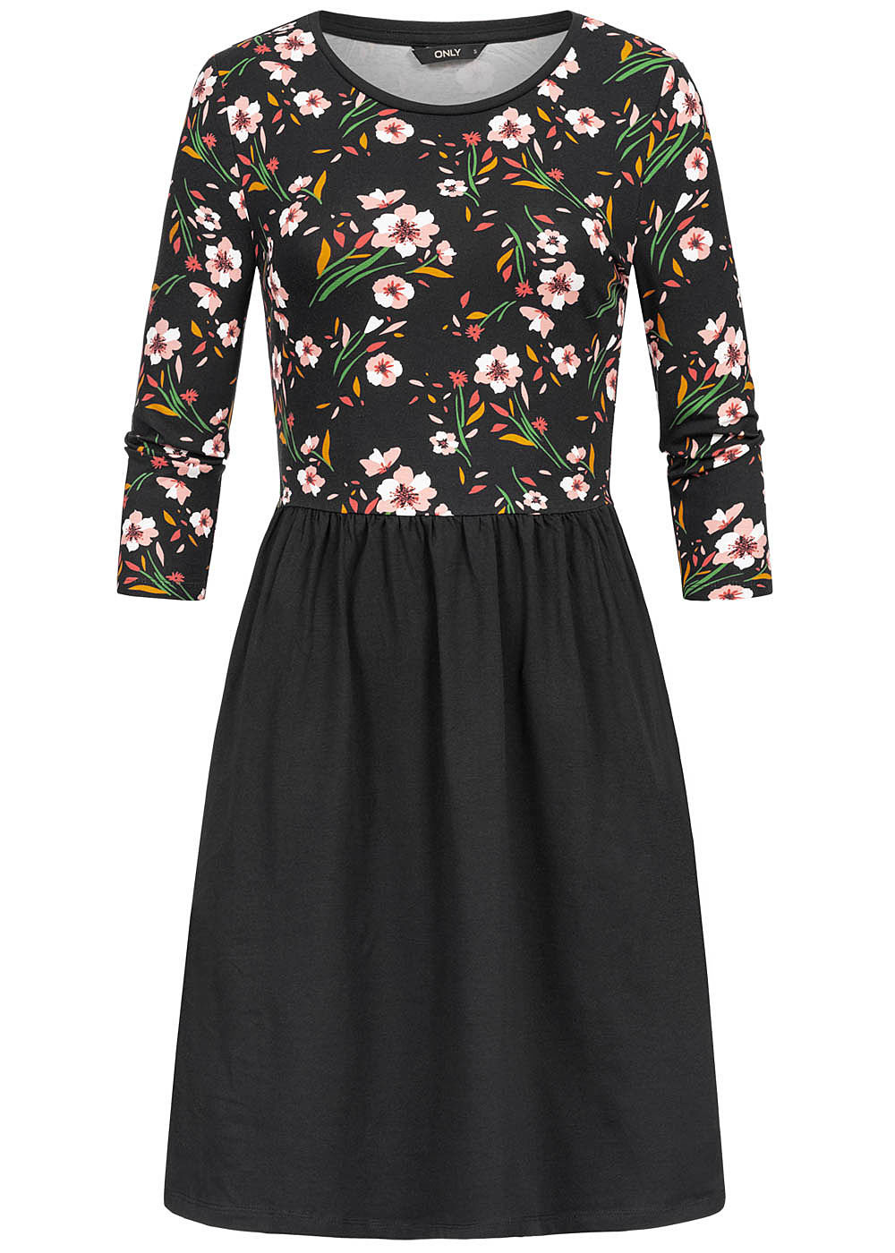 ONLY Damen 3/4 Sleeve Dress Flower Print schwarz rosa weiss - Art.-Nr.: 19083347