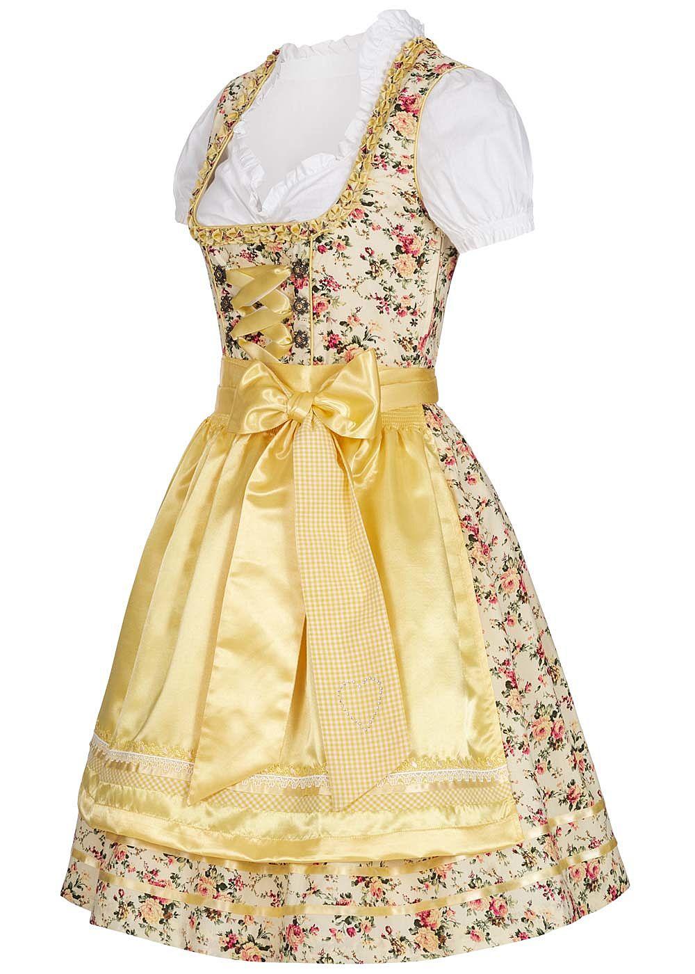 Mit Schürzeamp; Gelb Bluse Dirndl Kleid Damen Weiss Lifestyle Seventyseven yvNnPOwm08