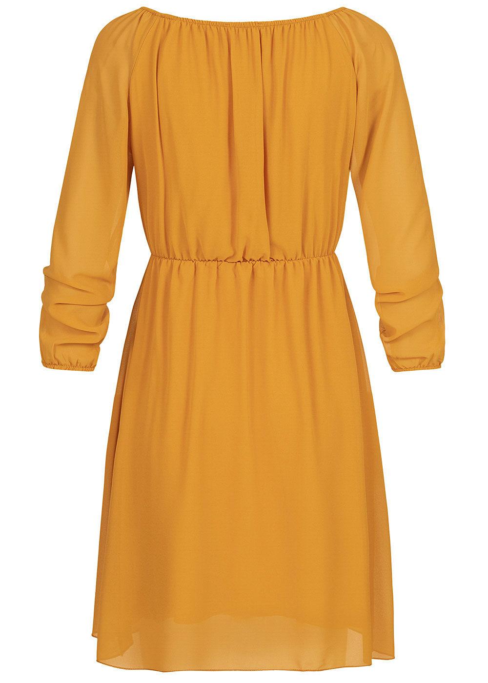 Hailys Damen Off-Shoulder Chiffon Kleid 2-lagig curry gelb ...