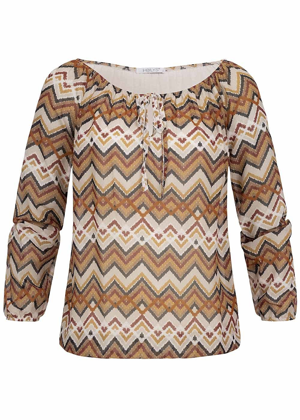 Hailys Damen Off-Shoulder Chiffon Blusen Top pumpkin orange beige - Art.-Nr.: 19093947