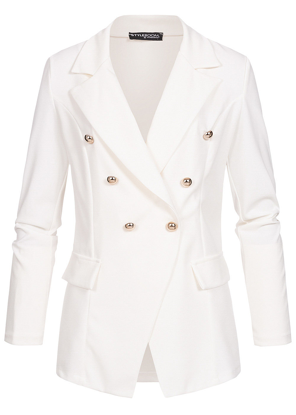 Styleboom Fashion Damen Blazer Jacket Buttons Front weiss - Art.-Nr.: 19096621