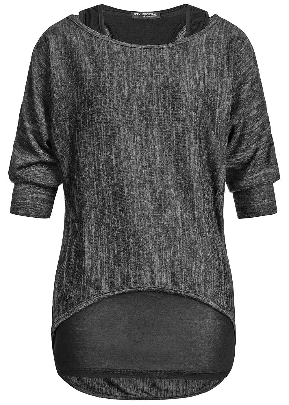 Styleboom Fashion Damen 2in1 Longsleeve Fledermaus Ärmel schwarz - Art.-Nr.: 20086268