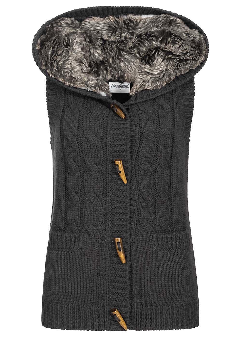 Seventyseven Lifestyle Damen Fake Fur Knit Vest schwarz