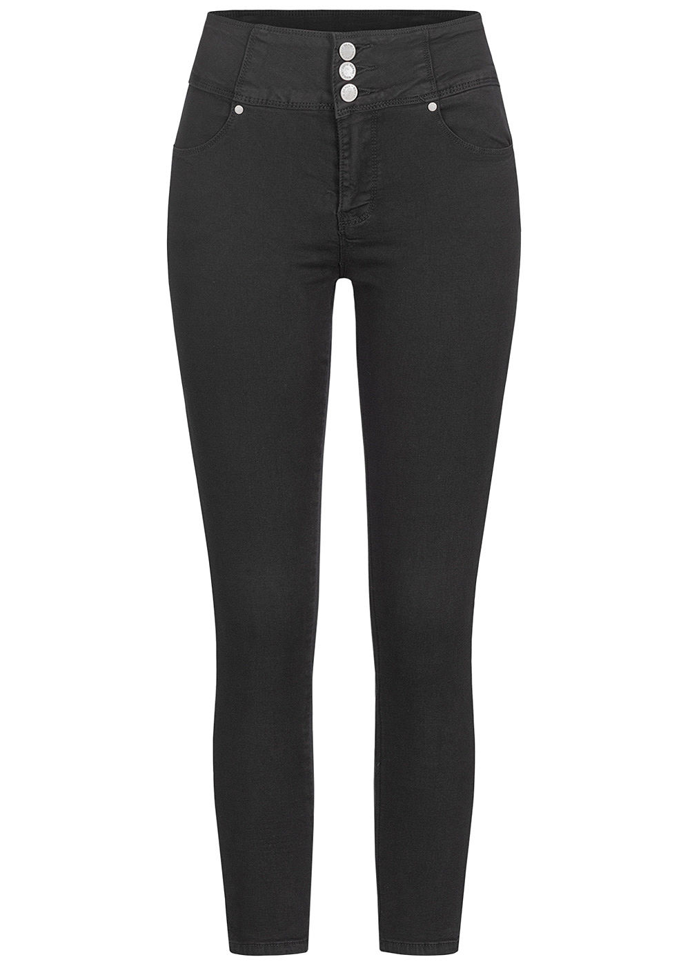 Seventyseven Lifestyle Damen High-Waist Skinny Jeans 4-Pockets schwarz denim - Art.-Nr.: 19099056-XS-BK