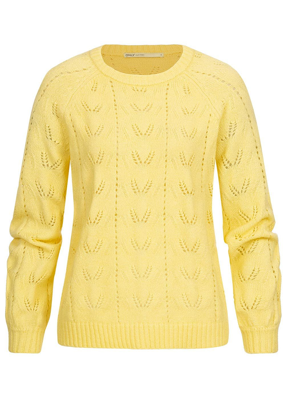 ONLY Damen Puffärmel Strickpullover pineapple gelb - Art.-Nr.: 19104796