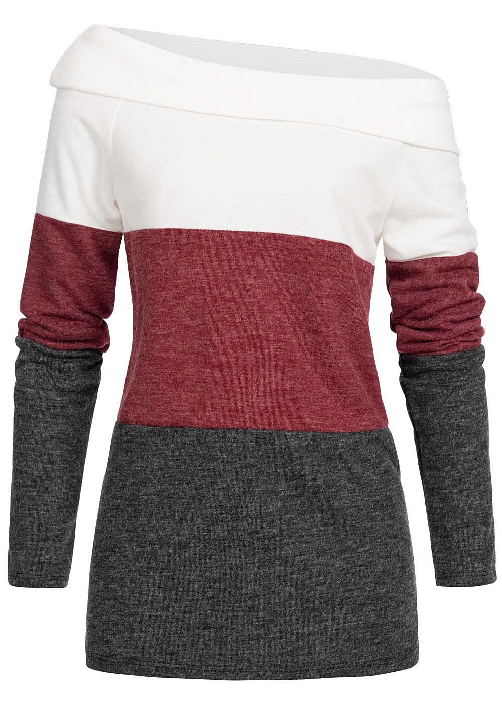 Styleboom Fashion Damen One-Shoulder Colorblock Sweater weiss bordeaux schwarz - Art.-Nr.: 19106718