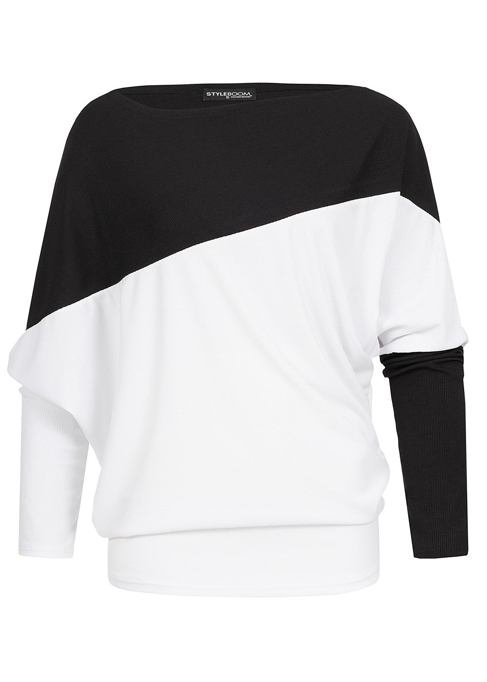 Styleboom Fashion Damen Oversized Fledermausärmel Shirt schwarz weiss - Art.-Nr.: 19106772