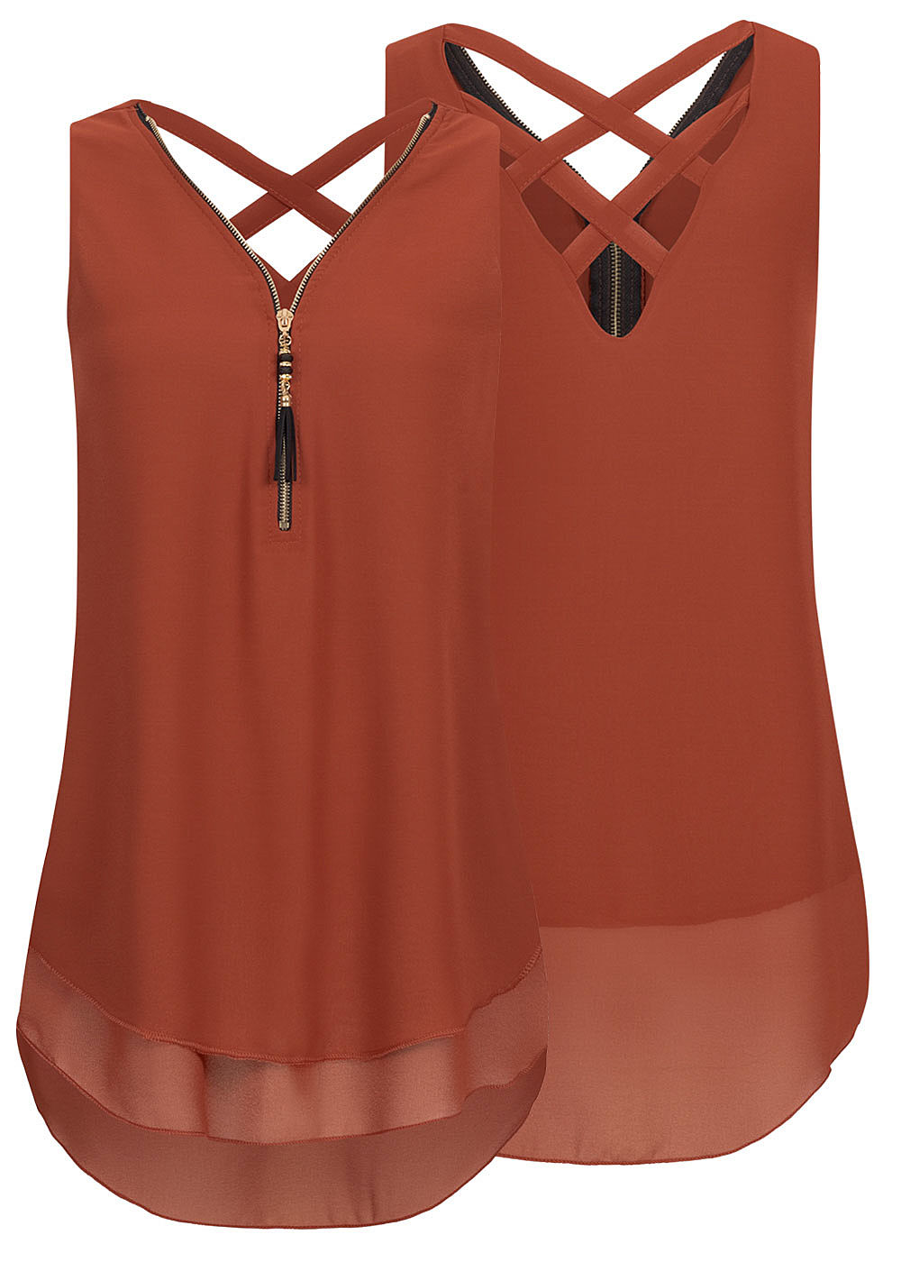 Styleboom Fashion Damen Chiffon Top Zipper 2-lagig caramel braun - Art.-Nr.: 19106815-L-BR