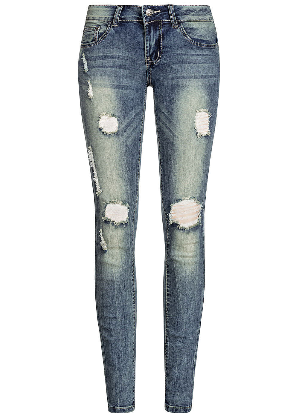 Seventyseven Lifestyle Damen Skinny Jeans 5-Pockets Heavy Destroy Look dunkel blau denim - Art.-Nr.: 19107063