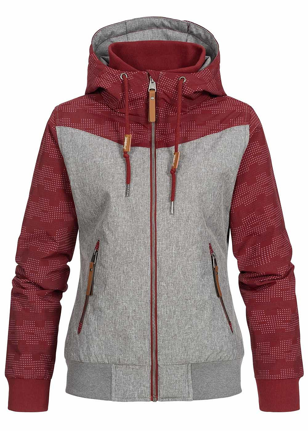Seventyseven Lifestyle Damen Hooded Melange Jacket 2-Pockets bordeaux rot - Art.-Nr.: 19108017-XXL-BO
