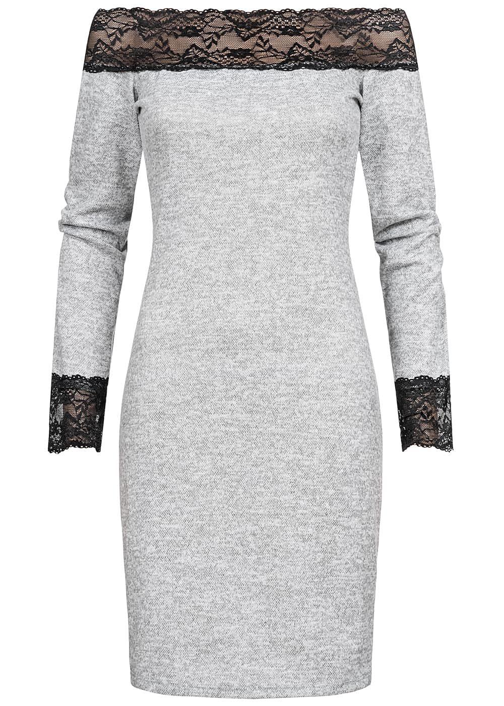Styleboom Fashion Damen Off-Shoulder Melange Kleid Spitze ...