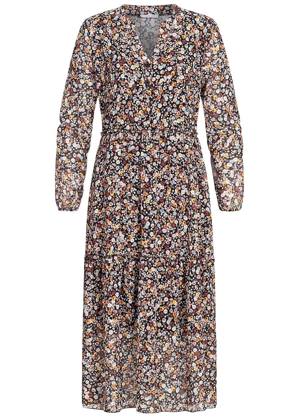 Hailys Damen V-Neck Midi Chiffon Kleid Blumen Print ...